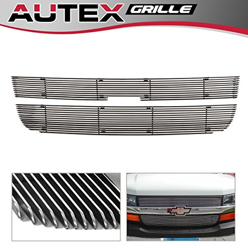 AUTEX 2pcs Chrome Polished Aluminum Main Upper Billet Grille Insert Compatible with 2003 2004 2005 2006 2007 2008 2009 2010 2011 2012 2013 2014 2015 2016 Chevy Express Grill ()