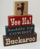 Yee Ha-Saddle Up Cowboy-Buckaroo – Primitive Country Wood Stacking Sign Blocks Cowboy Theme Cowboy Birthday Cowboy Nursery Room Cowboy Baby Shower Home Decor