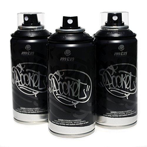 (MTN Pocket Spray Paint Set of 3 High Pressure Cans for Graffiti Street Art 150ml (Black))