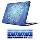 iLeadon MacBook Pro 15 Inch Case with Retina Display 2012-2015 Release Model A1398 Rubberized Hard Shell Cover+Keyboard Cover for MacBook Pro 15' Retina Non CD ROM, Dark Blue Mandala