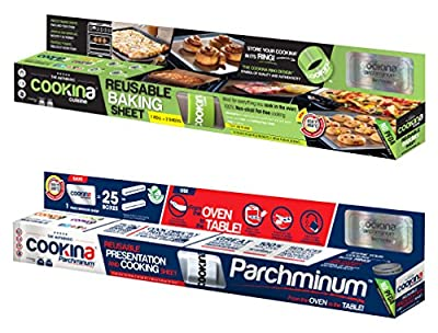 Cookina Cuisine & Parchminium Non-Stick Cooking Sheet Combo Pack from Cookina