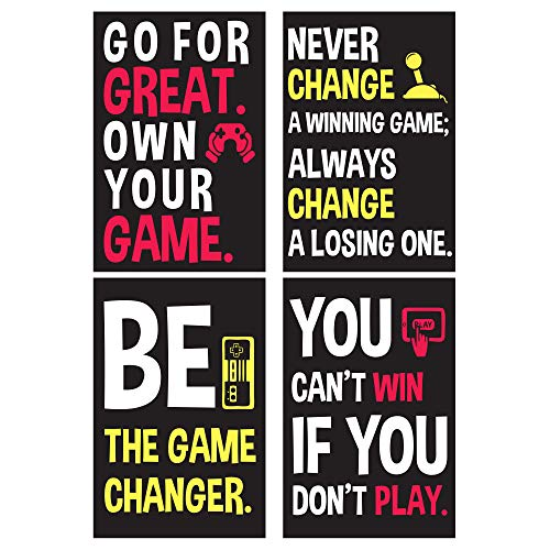 Gaming Posters For Gamer Boy - Motivational Video Game Wall Art - Room Decor For Boys - Bedroom Dorm Walls Decoration Poster Set For Guys - Cool Things For Teens - Birthday Presents For Teenage Gamers