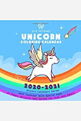 Unicorn Coloring Calendar: Wall Calendar With Special Pack of Magic Unicorns and Horses for Kids and Adults (2021 Unicorn Calendars Series) Paperback