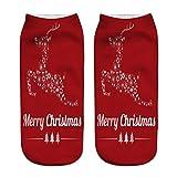 HOT SALE! Napoo Women Cute Christmas 3D Santa Claus Printed Socks Unisex Low Cut Ankle Cotton Socks (M)