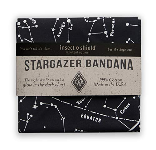 Insect Shield Treated, Constellation Star Chart Survival Bandana | 100% Cotton Black Bandana, Made in The USA, Stargazer