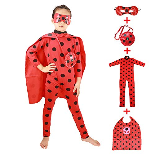 Girls' Ladybug Costume Kids' Cosplay Jumpsuits with Cloak,Mask and Yoyo Childern's Fancy Dress 4pcs (red, S)]()