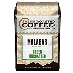 Fresh Roasted Coffee LLC, Green Unroasted Indian Monsoon Malabar Coffee Beans, 5 Pound Bag