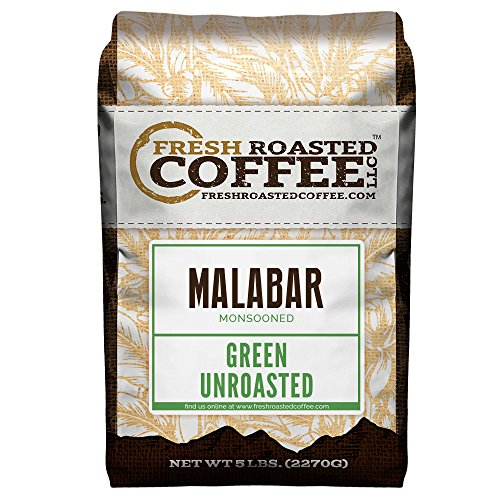 Fresh Roasted Coffee LLC, Green Unroasted Indian Monsooned Malabar Coffee Beans, 5 Pound Bag ()
