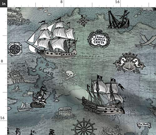 Spoonflower Sailor's map Fabric - Pirate Ship Nursery Decor Pirate Map Maritime Historical Ship Skull Nautical Nursery Decor by Teja Jamilla Printed on Fleece Fabric by The Yard