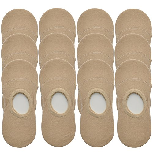 Angelina 12-Pair-Pack Cotton No-Show Socks #SK21-BEG