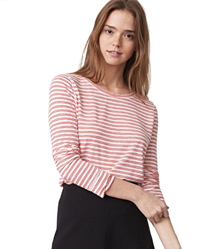 ann-taylor-loft-womens-red-white-striped-long-sleeve-boat-neck-shirttail-tee-x-large