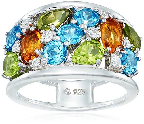 Rhodium Plated Sterling Silver Multi-Gemstone with Citrine, Peridot, Blue and Swarovski Zirconia Textured Ring, Size - Multi Silver Gemstones Plated