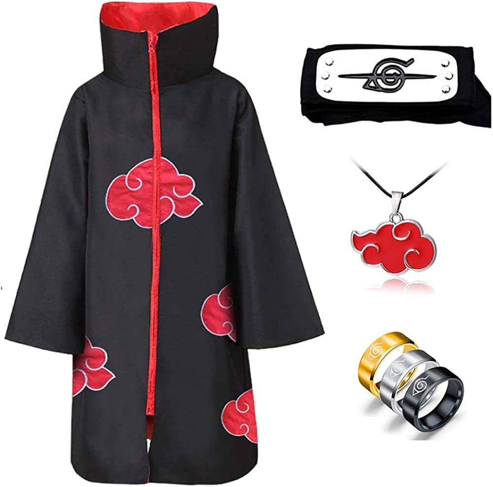 6Pcs Anime Naruto Cloak Akatsuki Uchiha Itachi Cosplay Headband Necklace Ring