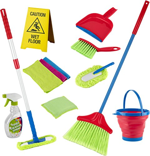 Play22 Kids Cleaning Set 12 Piece - Toy Cleaning Set Includes Broom, Mop, Brush, Dust Pan, Duster, Sponge, Clothes, Spray, Bucket, Caution Sign, - Toy Kitchen Toddler Cleaning Set - - And Mop Broom Baby
