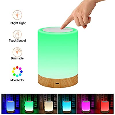 Elecstars Touch Lamp, Portable Night Light, Table Bedside Lamps for Bedrooms Living Room Rechargeable Internal Battery Dimmable 2800K-3100K Warm White Light& Color Changing RGB (White)