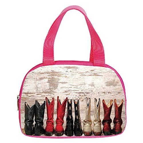 (Vogue Small Handbag Pink,Western,American Legend Cowgirl Leather Boots Rustic Wild West Theme Folkart Print,Beige Red Black,for Girls,Diversified Design.6.3