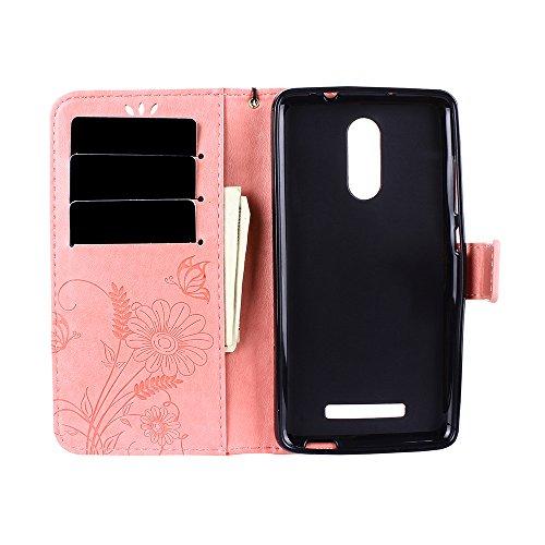 Funda Xiaomi Redmi Note 3, CaseLover Carcasa Libro Suave PU Cuero con Interior TPU Gel Silicona para Redmi Note 3 / Note 3 Pro (5.5 pulgadas) Tapa Piel Flip Case Cover Cierre Magnético, Función de Sop Rosado