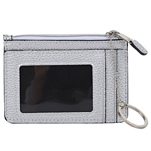 RFID Wallet for Women by Vesfashion Silver YKK Zipper Closure Keychain Included Front Pocket Wallet Slim Card Holder Wallet with RFID Blocking