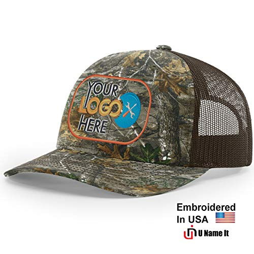 Custom Richardson 112 Hat with Your Logo Embroidered Trucker Mesh Snapback Cap (Adjustable Snapback Realtree Colorway, Realtree Edge/Brown)