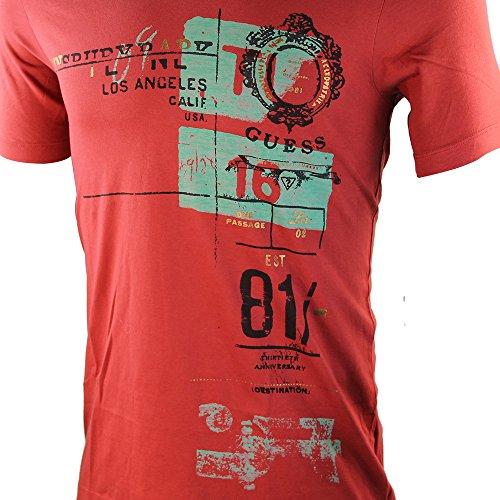 Guess Herren Rot V Neck T-Shirt SRP £40Größe XS