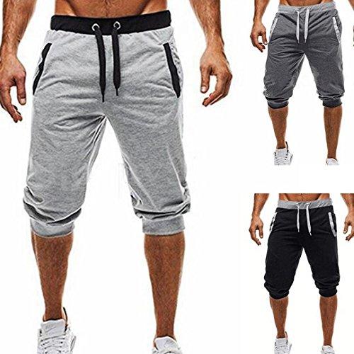 itness Jogging Elastic Stretchy Bodybuilding Bermuda Sweatpants (XL, Gray) ()