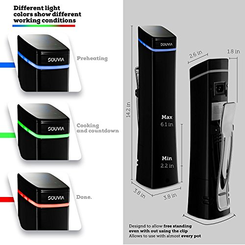 Souvia Sous Vide Immersion Circulator w/Accurate Temperature, Programmable Digital Touch Screen Display, Ergonomic Grip to Fit Any Pot Ultra-quiet,1100 Watts, Black by Magic Mill (Image #3)'