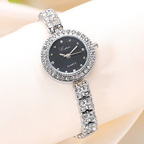 S660 Ladies Women's Luxury Watch on Sale Analog Quartz Crystal Wrist Watches Plated Alloy Round Dial Stainless Steel Strap Clearance Fashion Dress for Woman & Girls (Sliver black) (Watch Round Plated)