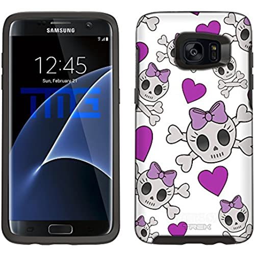 Skin Decal for Otterbox Symmetry Samsung Galaxy S7 Edge Case - Cutie Skulls Purple on White Sales