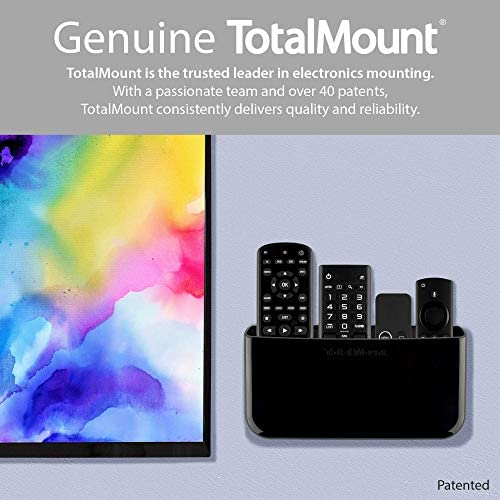 TotalMount Hole-Free Remote Holder - Eliminates Need to Drill Holes in Your Wall (for three or 4 Remotes - Black - Quantity 1)
