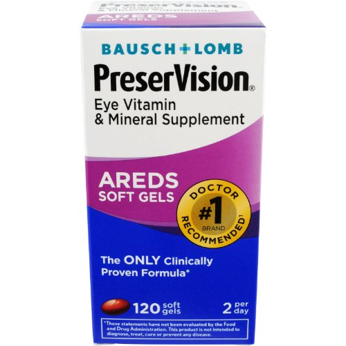Bausch & Lomb PreserVision Eye Vitamin & Mineral Supplement, 120-Count Soft Gels (Lomb Eye)