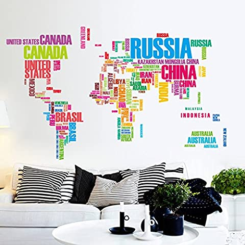 Flexzion DIY Wall Sticker Removable World Map Colorful USA Letters Country Name Art Decal Home Decor Durable for Nursery Children Mural Living Dining Room Televsion (Mario Bedroom Decor Furniture)