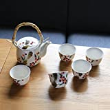 qwert Teacup,China ceramic tea set Stainless steel filter Portable teapot [household] Office tea 1 teapot 5 cup-A