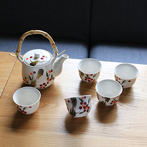 qwert Teacup,China ceramic tea set Stainless steel filter Portable teapot [household] Office tea 1 teapot 5 cup-A by qwert
