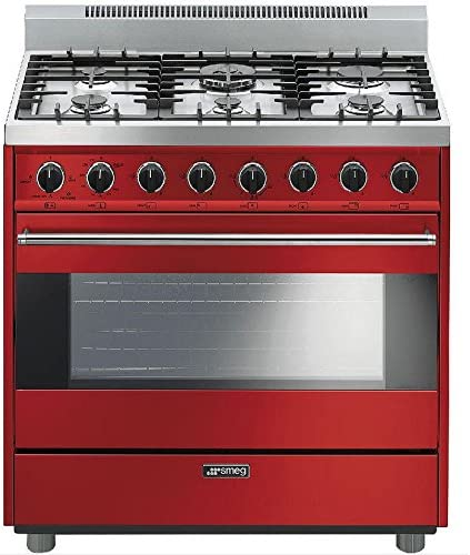 Red Smeg C36GGRU 36 Free Standing Gas Range with 6 Gas Burners and 3 Cooking Modes