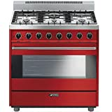 Smeg C36GGRU 36 Free Standing Gas Range with 6 Gas Burners and 3 Cooking Modes, Red
