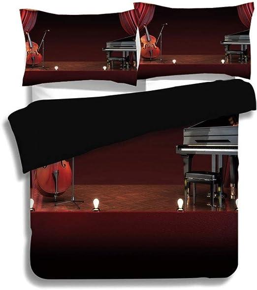 Juego de funda nórdica negra, decoración del hogar para el teatro musical, orquesta, sinfonía, tema, escenario, cortinas, violonchelo, marrón burdeos, negro, ropa de cama decorativa de 3 piezas con 2: Amazon.es: Hogar