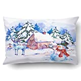 Emvency Pillowcases Xmas Dec Cozy Countryside Watercolor Winter Landscape Hand Painted Card With Old Houses Deer And Snowman Pillow Case Cushion Cover Case Throw Pillow Case Lumbar 20x30 Inch
