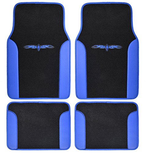 A Set of 4 Universal Fit Plush Carpet with Vinyl Trim Floor Mats For Cars/Trucks ()