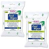 (Set/2) Tea Tree Foot Wipes - Soothing Infused w/Aloe Vitamin E & Tea-Tree