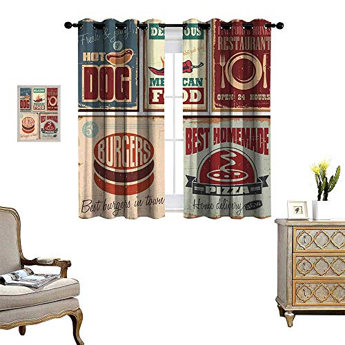 Anyangeight Retro Thermal Insulating Blackout Curtain Nostalgic Tin Signs and Mexican Food Prints Aged Advertising Logo Style Artistic Design Patterned Drape for Glass Door W55 x L45 Multi