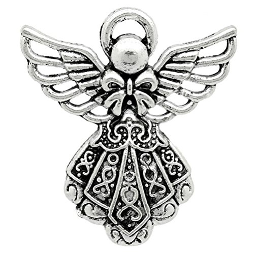 Angel Charms Pendants 1-inch Antiqued Silver Guardian Angel (12 Charms)