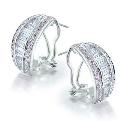 Bridal Statement CZ Half Hoop Baguette Earrings For Women For Wedding Omega Back Clip Pierced Ear Silver Plated Brass
