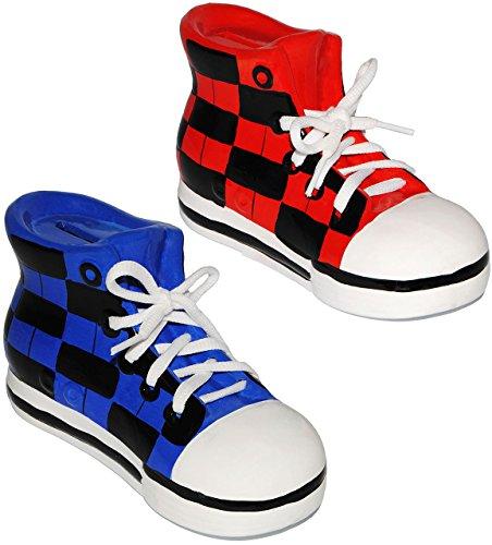 2 Stück _ Sparschweine -  Schuhe Sneaker / Sportschuh  - incl. Name - mit echten Schnürsenkel ! - stabile Sparbüchse aus Porzellan / Keramik - 3-D Effekt - für Kinder & Erwachsene / Jungen Mädchen -