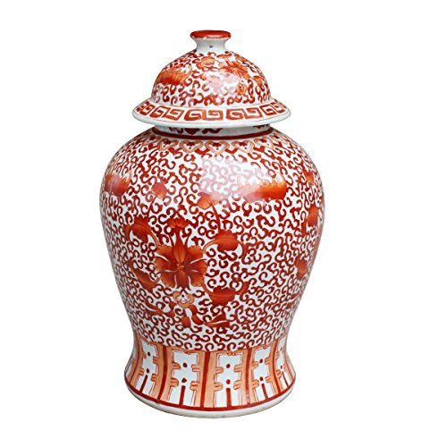 Chinese Ceramic Temple Jar- Coral Red Twisted Lotus Decorative Storage Container ()