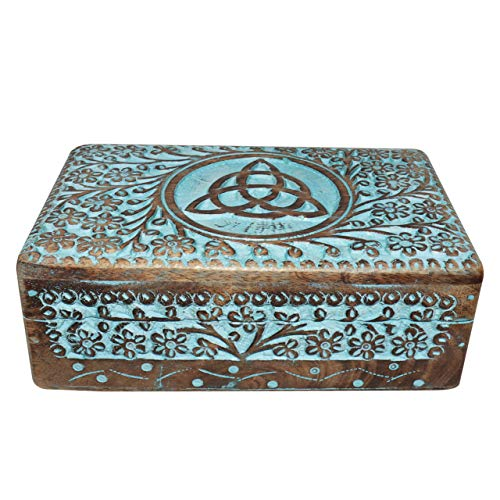Vrinda Wooden Hand carved Triquetra Box 8 inch x 5 ()