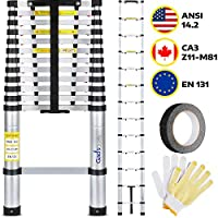 """Multipurpose Telescoping Ladder - 12.5 ft. Extension Ladder Holds 330 lb. - Compact, Rust Resistant, Indoor & Outdoor Aluminum Retractable Ladder Collapses to 40x17"""" for Easy Storage by GAD"""