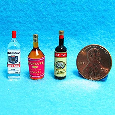 My Mini Fairy Garden Dollhouse Accessories for Outdoor or House Decor Dollhouse Miniature Size Gin Bottle # T