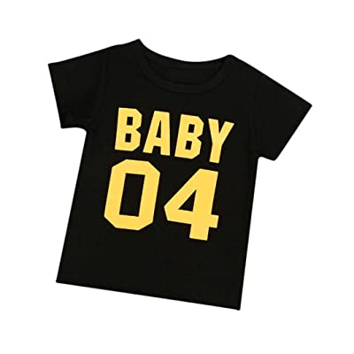 ChainSee Cute Family Baby Boy Girl Short Sleeve Letter Print Cotton Blend T Shirt Tops