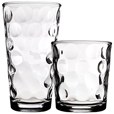 Palais Glassware Cercle Collection; Tempered Safety Clear Glass Set with Circle Design