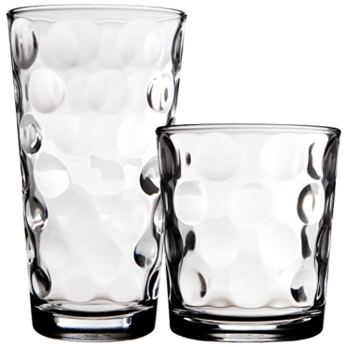 Palais Glassware Cercle Collection; Clear Glass Set with Circle Design (Set of 16, 8 Highballs, 8 DOF's, Clear)
